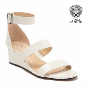 Vince Camuto Pearl Patent Ankle Strap Wedge Sandal